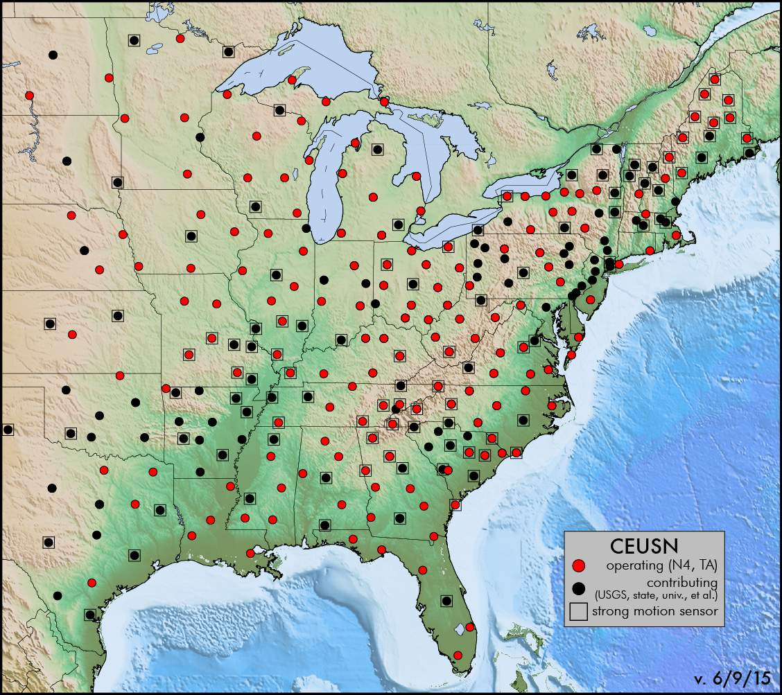 central and eastern united states seismic network ceusn recent earthquakes in